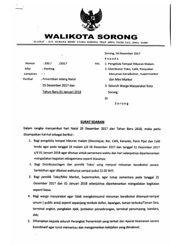 Edaran Walikota Sorong.