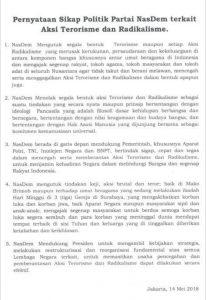 Pernyataan Sikap Partai NasDem Tentang Aksi Terorisme Yang Terjadi di NKRI