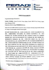 Surat Kuasa yang diberikan Briptu Yudhi Yuridis kepada anggota PERADI Sorong sebagai Kuasa Hukum