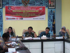 Identifikasi dan Penjaringan OBH Melalui FGD di Aula Kanwil Kemenkumham Papua Barat, Jumat (6/7/2018)