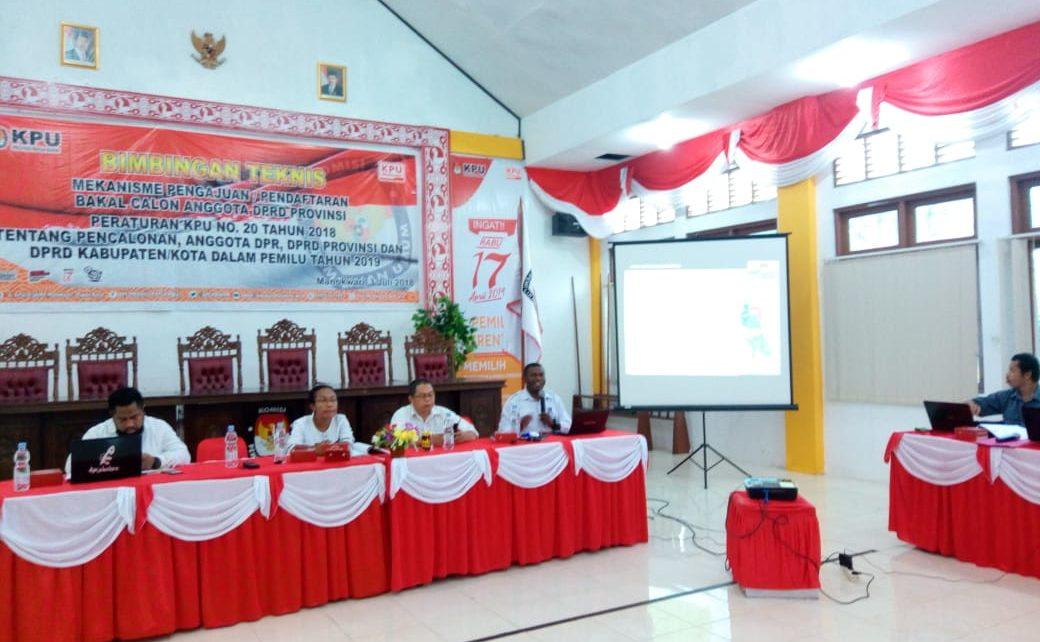 KPU dan Bawaslu PB Laksanakan Sosialisasi PKPU Nomor 20 Tahun 2018 di Aula KPU Papua Barat, Selasa (3/7/2018)