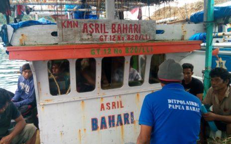 Barang Bukti Kapal Ikan yang disita Direktorat Polair Polda Papua Barat, Minggu (5/8/2018)