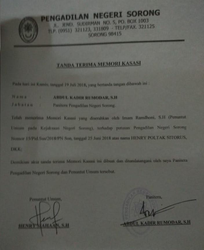 Surat Tanda Terima Memori Kasasi Jaksa Penuntut Umum./ (foto: Djunaedi)