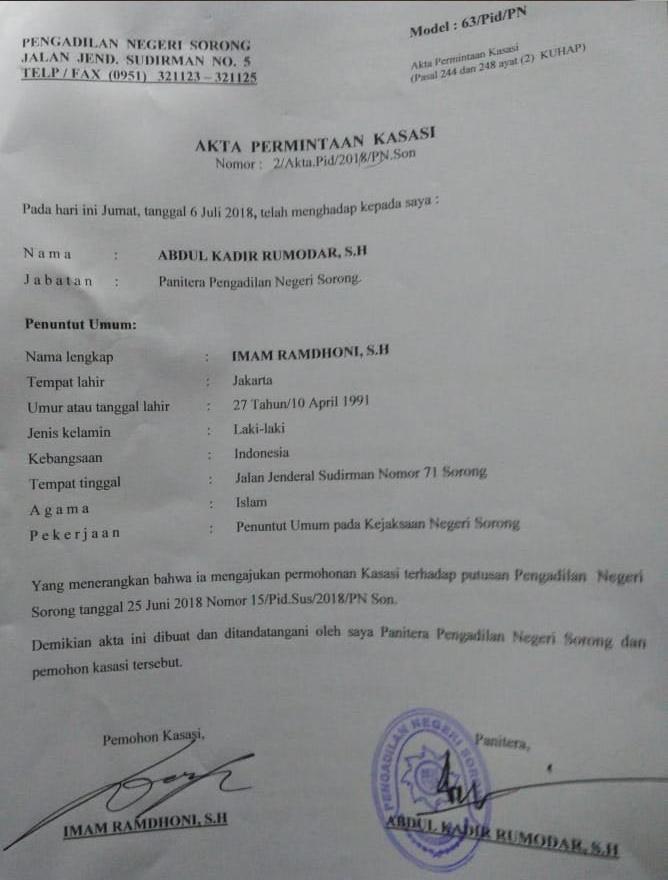 Akta Permintaan Kasasi oleh Jaksa Penuntut Umum./ (foto: Djunaedi)