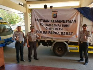 Polda Papua Barat Peduli Korban Gempa di Lombok, Nusa Tenggara Barat