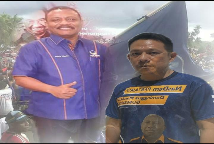 Sekretaris DPW Partai NasDem Papua Barat, Rocky L. Mansawan,S.E dan Ketua DPD Partai NasDem Kabupaten Teluk Bintuni