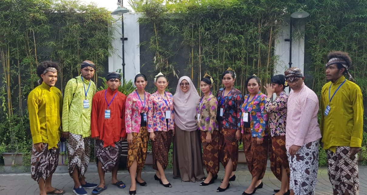Kontingen Mahasiswa Papua Barat Yang Mengikuti Peksiminas Tahun 2018 di Lapangan Pancasila, UGM, Yogyakarta, Selasa (16/10/2018)