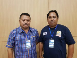 Pj Ketua BPSMI Provinsi Papua Barat, Dr Roberth K.R.Hamar,S.H.,M.H.,M.M dan Wakil Ketua Kontingen Papua Barat, Baso Daeng
