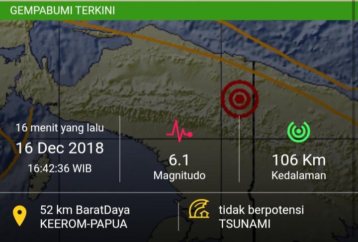 Gempa Magnitudo berkekuatan 6.1 Skala Richter Guncang Kabupaten Keerom, Minggu (16/12/2018)