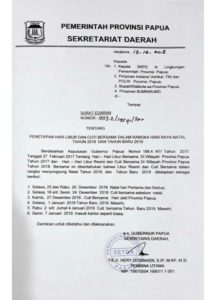 Surat Edaran Gubernur Papua