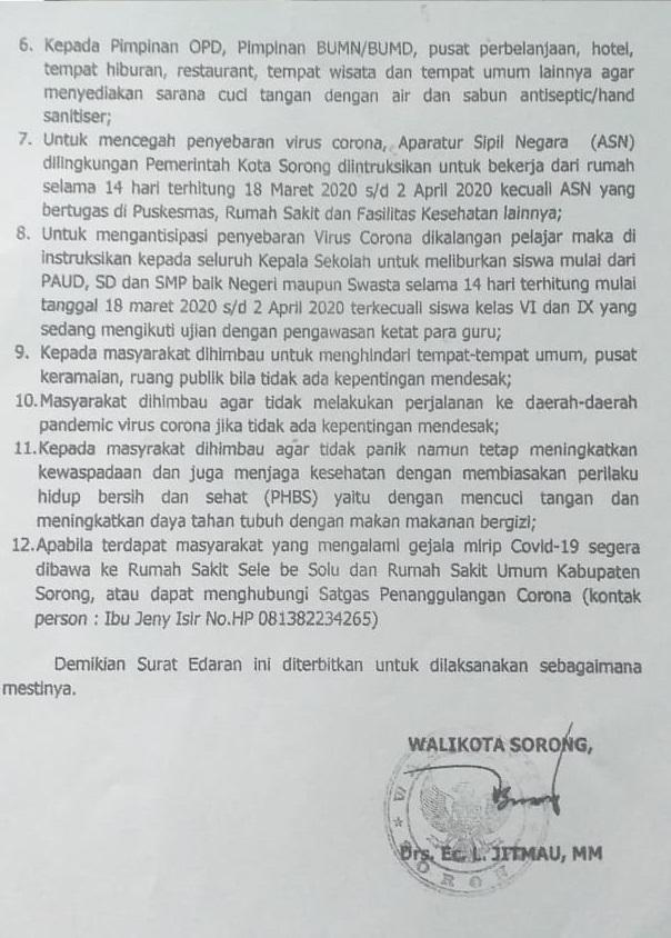 Surat Intruksi Walikota Sorong Tentang Antisipasi Penyebaran Virus Corona.