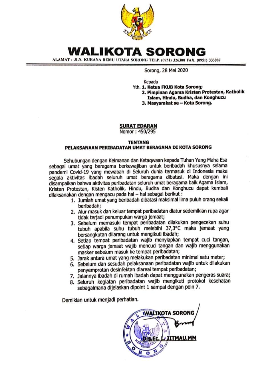Surat Edaran Walikota Sorong