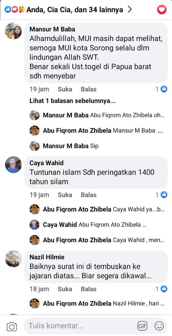 Komentar Nitizan di akun FB milik Abu Fiqrom Ato Zibela