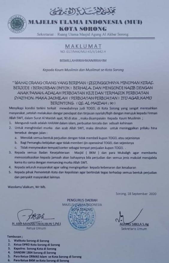Maklumat MUI Kota Sorong