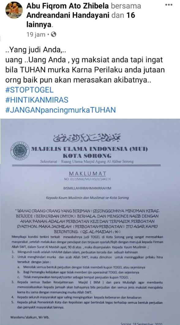Postingan Maklumat MUI Kota Sorong pada akun Facebook milik Abu Fiqrom Ato Zibela