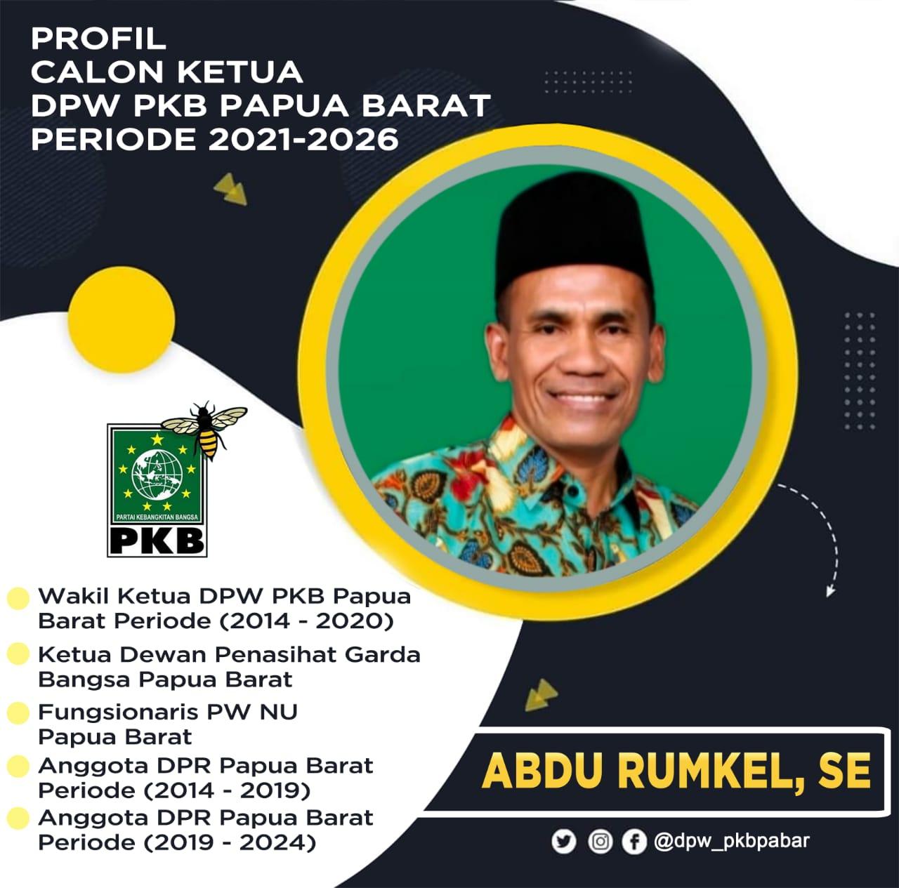 Abdu Rumkel, Bakal Calon Kandidat Ketua PKB Papua Barat 2021-2026